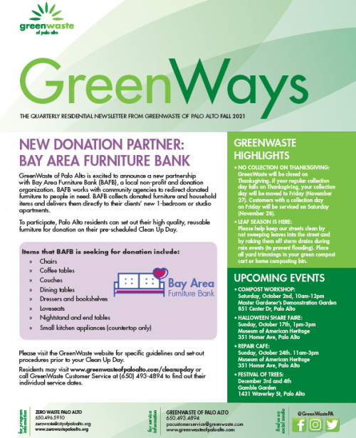 GreenWaste Fall 2021 Residential Newsletter Image